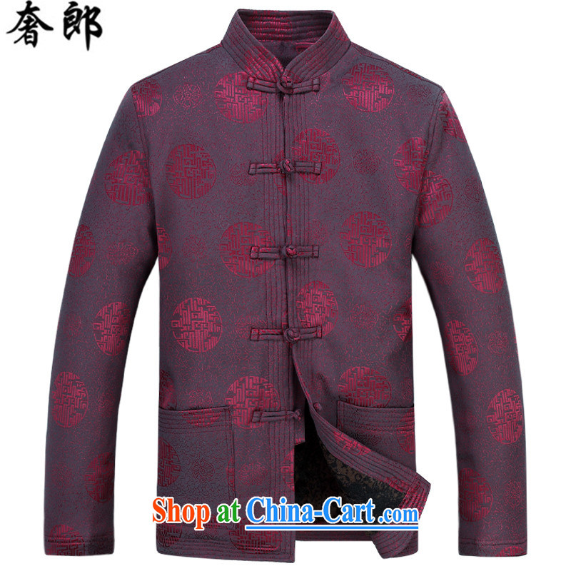 Luxury health men Chinese elderly in thick winter coat red long-sleeved the cotton Chinese autumn and winter, and the wind improved legislative style retro the life dress red T-shirt M