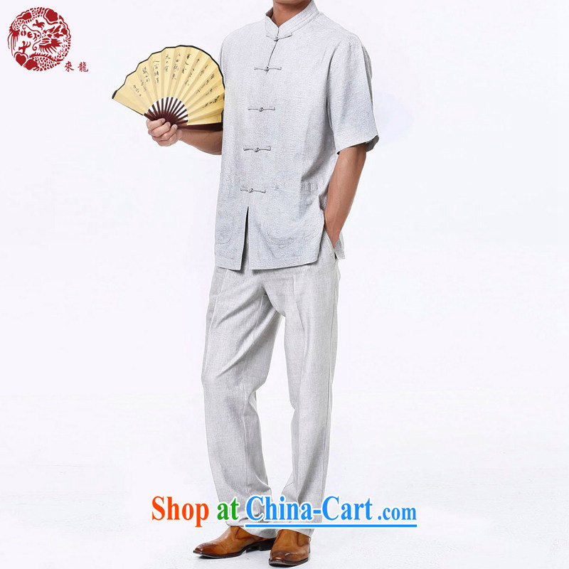 To Kowloon Chinese summer 2015 New China wind men's cotton mA short-sleeve kit 010 light gray 48, light gray 50