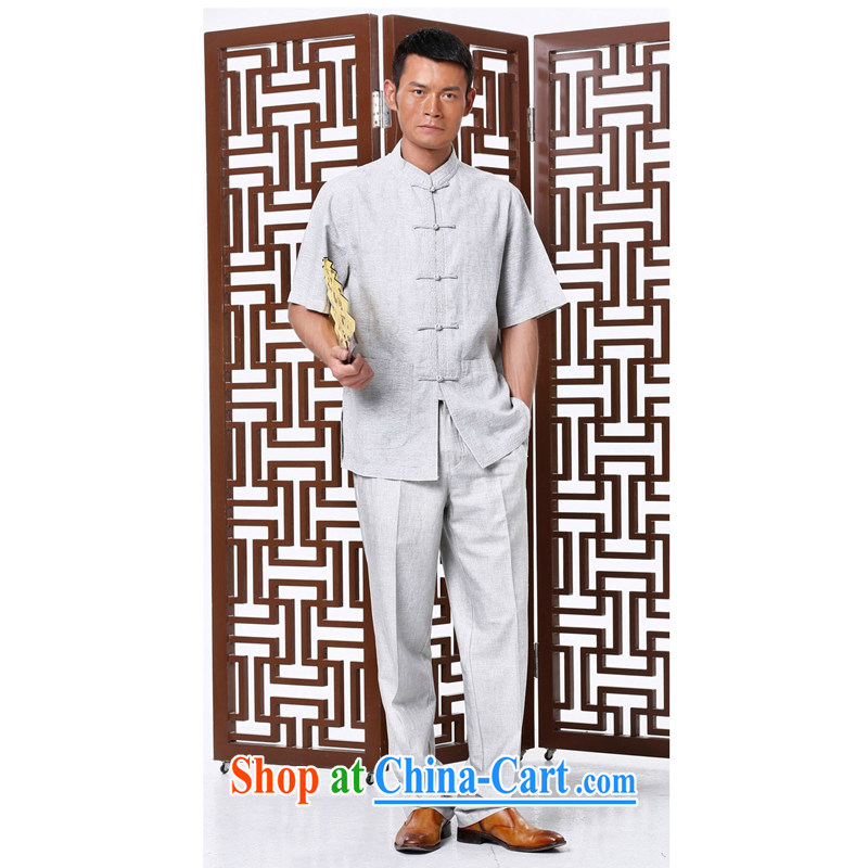 To Kowloon Tong on 2015 summer New China wind men's cotton mA short-sleeve kit 010 light gray 48, light gray 50 in Kowloon, and shopping on the Internet