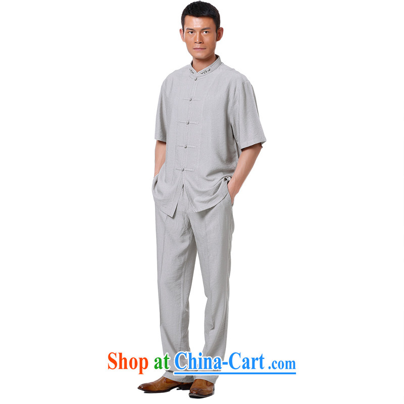 To Kowloon Chinese summer 2015 New China wind men's short-sleeve kit 009 light gray 48, light gray 50