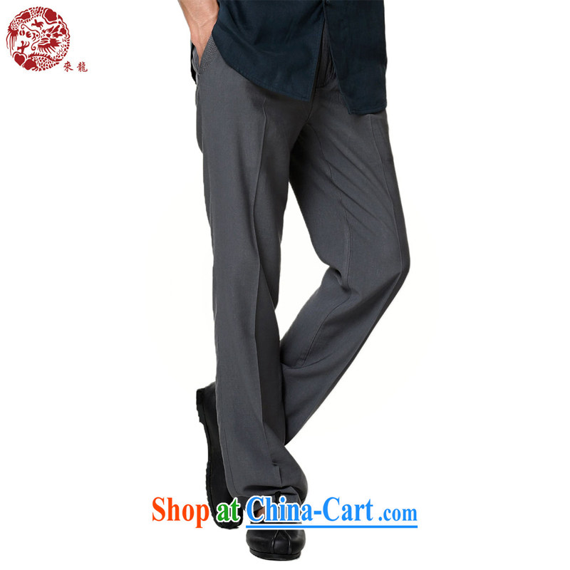 To Kowloon Tong with summer 2015 New China wind men's elastic pant 15,133 gray 48, gray 52