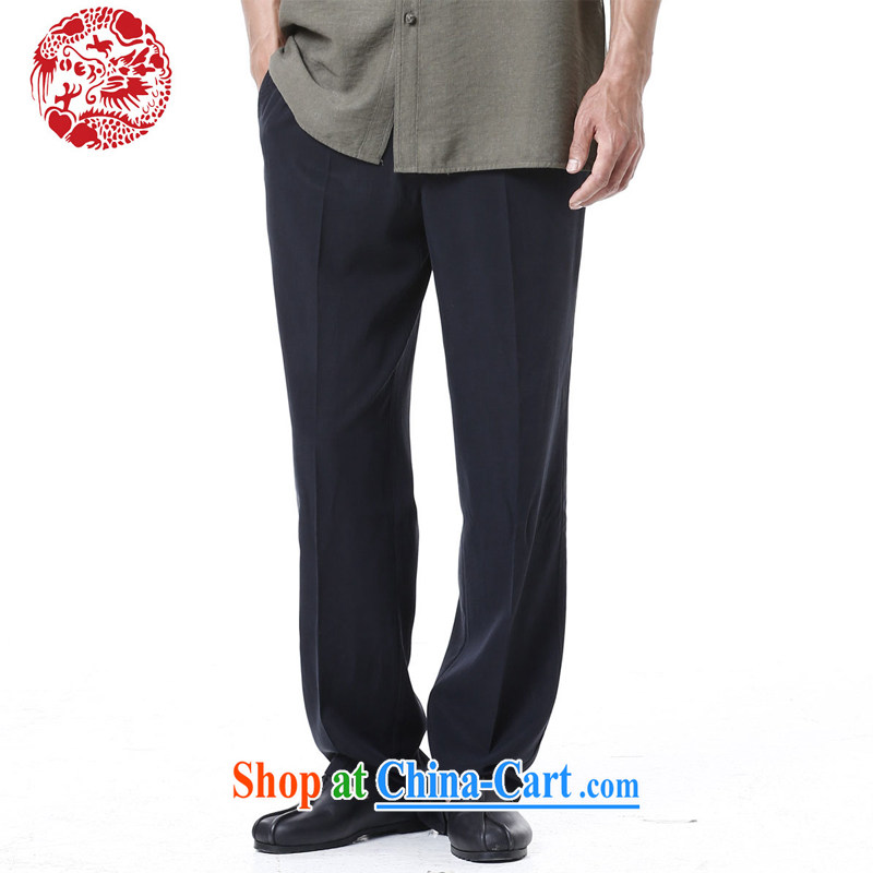 To Kowloon Tong load summer China wind men's cotton and TENCEL pant 14,159 black 48, black 52