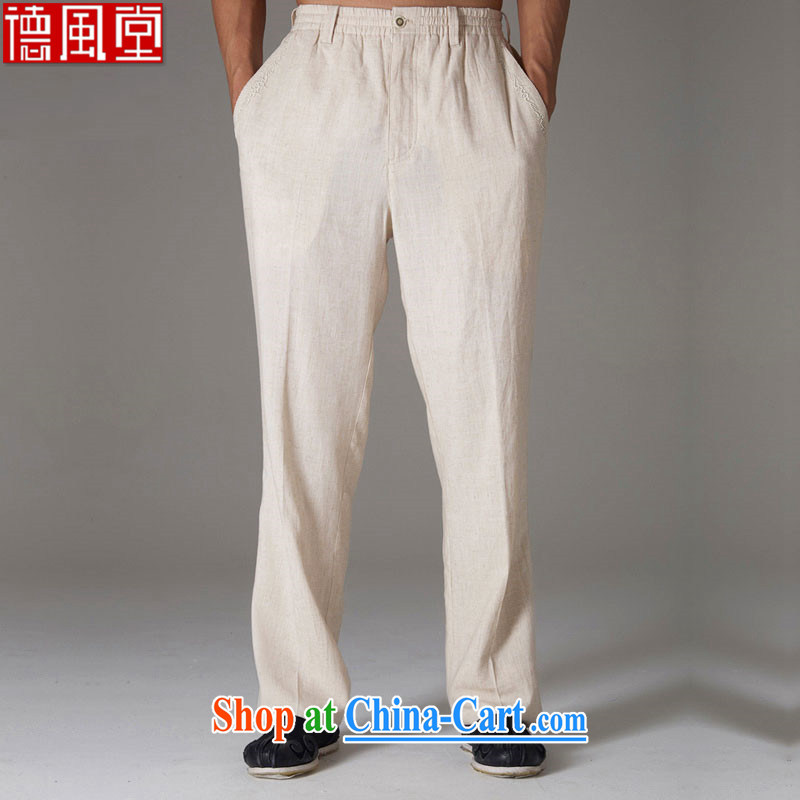 De-tong-line Chinese men's trousers thin Chinese Elasticated waist anti-wrinkle beauty China wind 2015 summer trousers Cornhusk yellow XXXL
