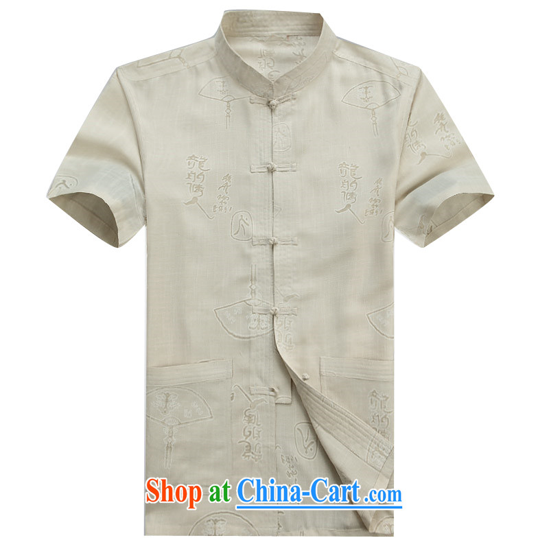 Vladimir Putin the new Chinese men's summer in older cotton Ma Tang replace short-sleeved men's father with beige XXXL_190