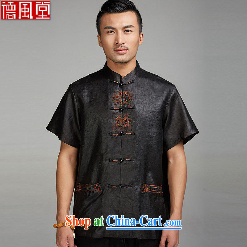 De-Tong Ming Kum 2015 Hong Kong cloud yarn men's short-sleeved Chinese Chinese-snap embroidery shirt China wind and bead tie XXXL