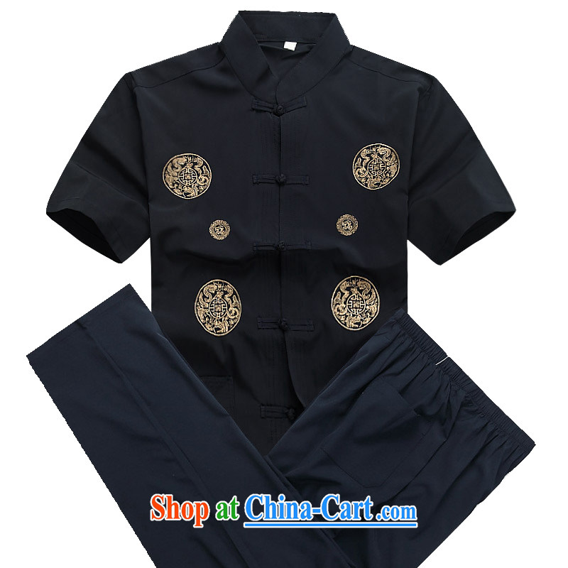 Putin's European men's summer New Tang replace short-sleeved Tang replacing older half sleeve Chinese men and a short-sleeved Tang package Blue Kit XXXL_190