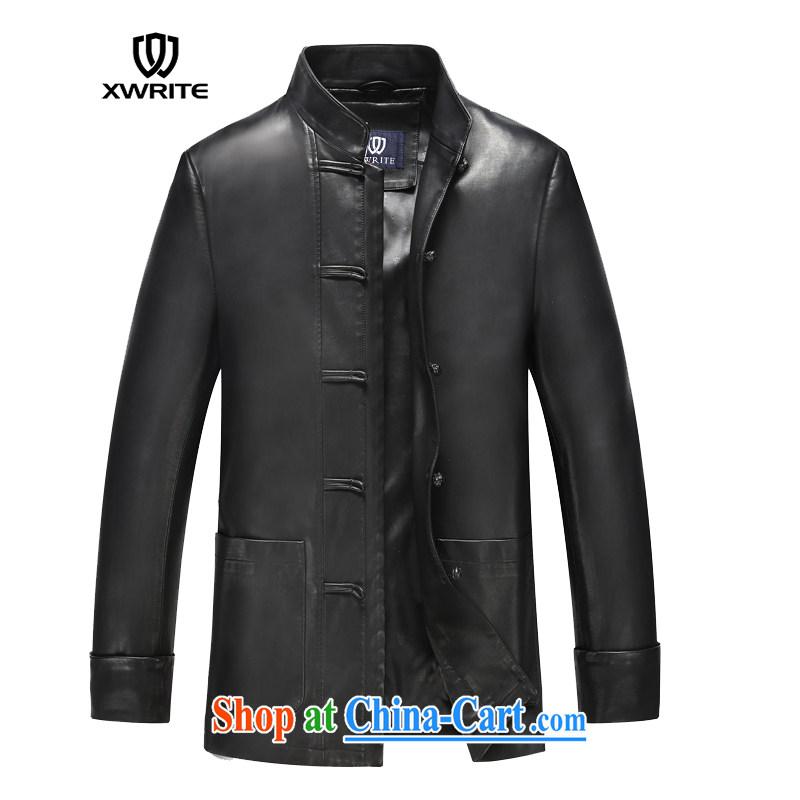 Write 2015 autumn and winter New Men Generalissimo leather jacket men's classic Chinese leather jacket casual clothing leather jacket black XXXL