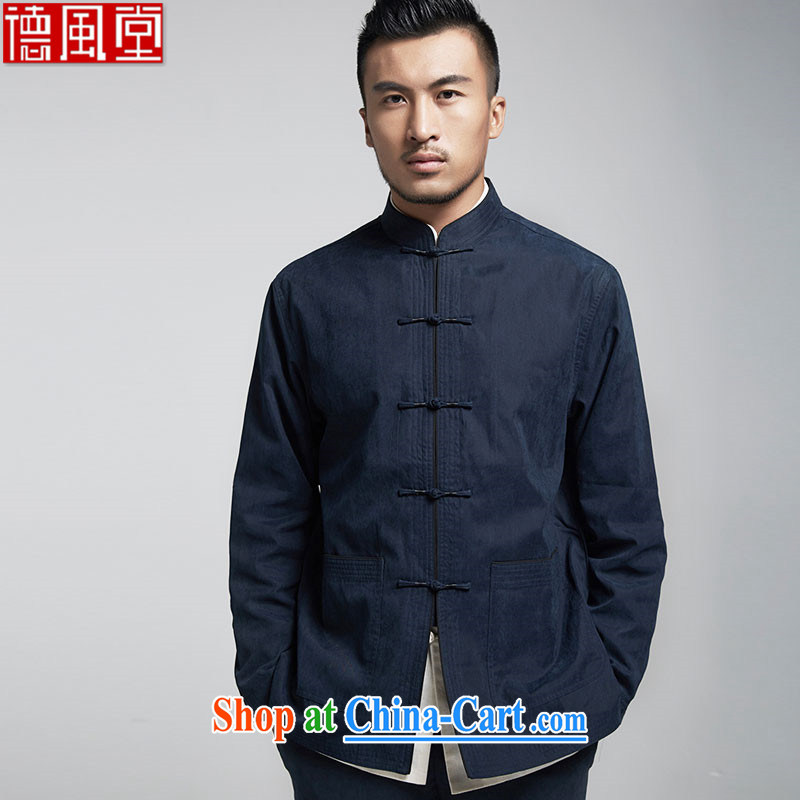 De-tong LAU fall 2015 fall/winter men Chinese leisure jacket China wind solid color-charge, for improved T-shirt dark blue M/165