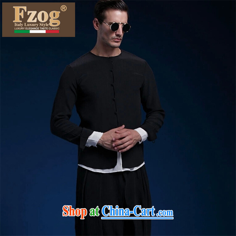 FZOG high integrity, sauna silk long-sleeved Chinese wind-tie beauty wrinkles leisure stitching men Tang black 185