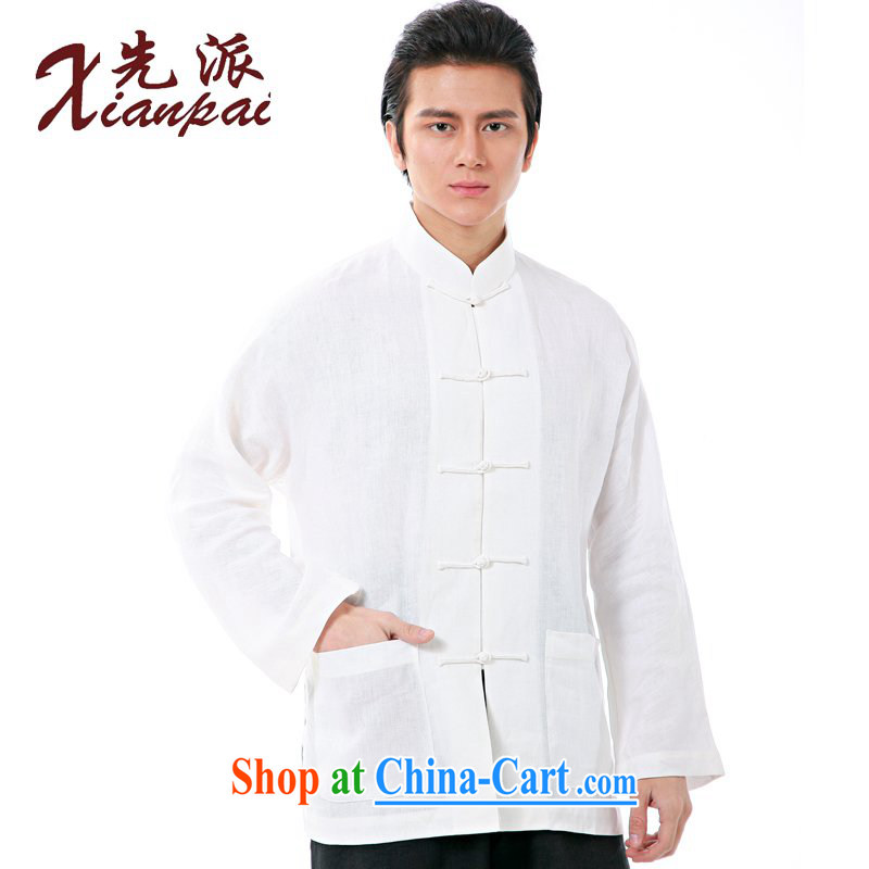 First spring and summer China wind linen long-sleeved double-shoulder shirt Chinese men and long-sleeved new Chinese, for the charge-back China wind dress ethnic wind T-shirt white linen long-sleeved T-shirt 4 XL