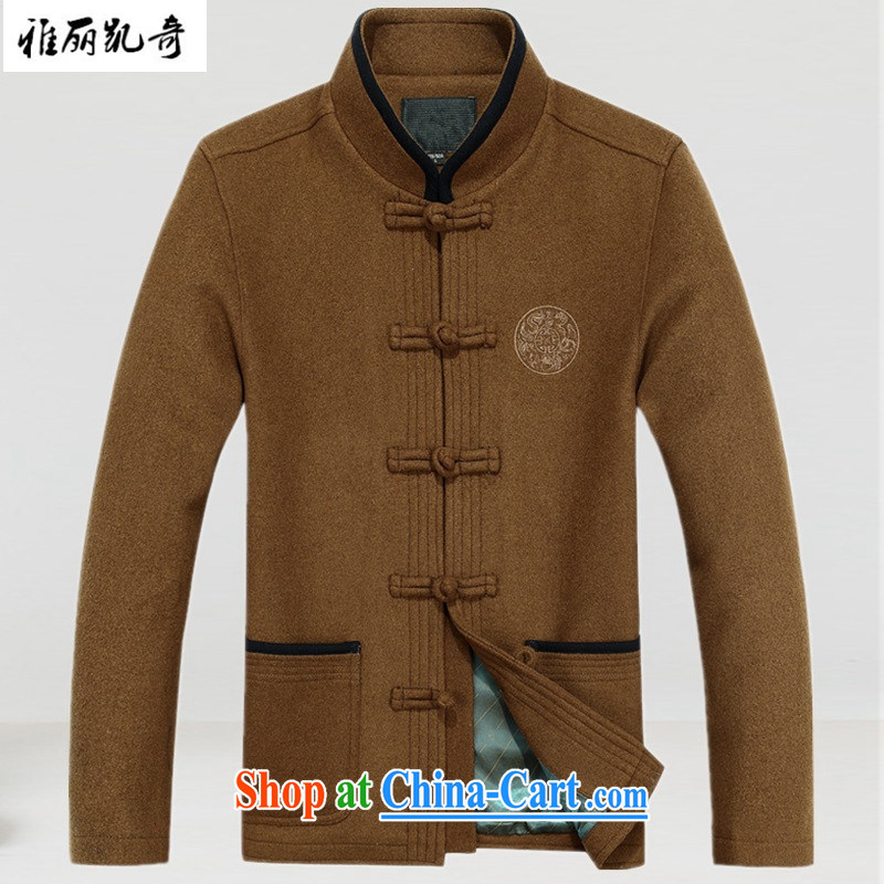 Alice Kay, men's short spring loaded long-sleeved? The winter coats thicken and Han-grandfather father load discs snap jacket stylish improved national T-shirt khaki XXXL