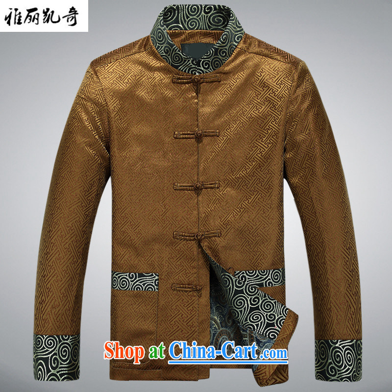 Alice, Kevin Ethnic Wind cotton clothing spring and autumn and winter clothing men's Chinese elderly in elderly men's winter grandfather Chinese jacket improved, for his birthday life gold M