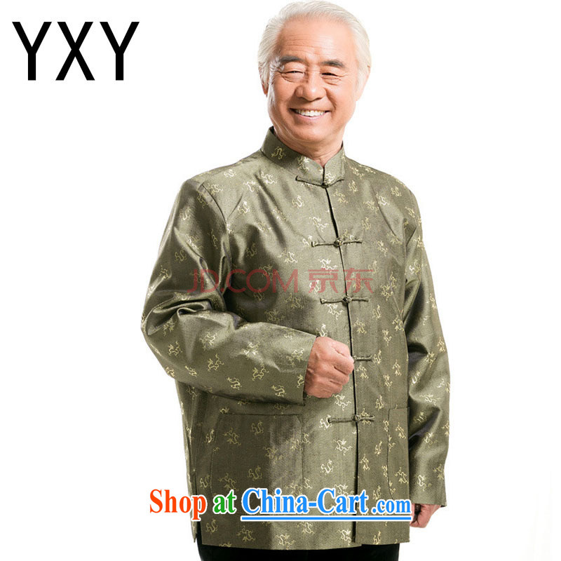 Stakeholders line cloud Chinese men fall and winter Chinese long-sleeved T-shirt, older men and the charge-back elderly long-sleeved male DY 0777 green L