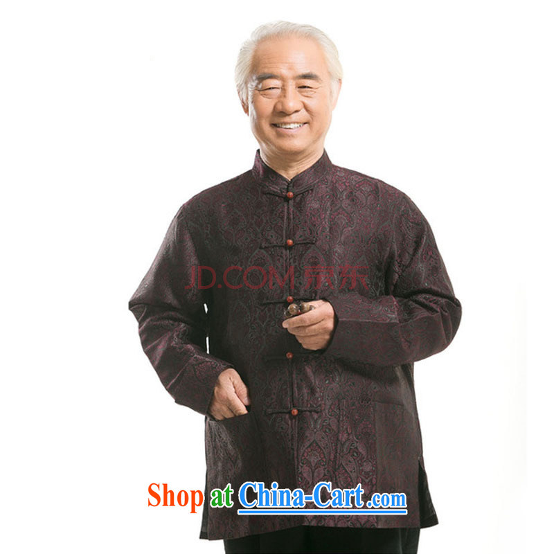Stakeholders line cloud Chinese Tang with autumn and winter brocade coverlets long-sleeved T-shirt, older Chinese T-shirt, for Chinese DY 0727 deep red M stakeholders, the cloud (YouThinking), and, on-line shopping
