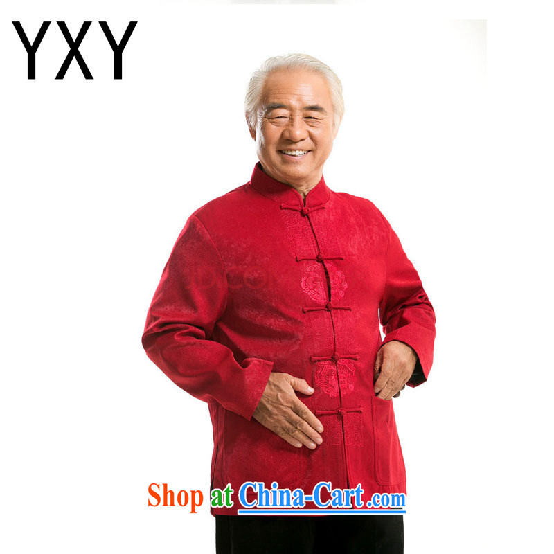 The stakeholders in the Cloud old men long-sleeved Chinese Chinese T-shirt older persons jacket DY 727 red L