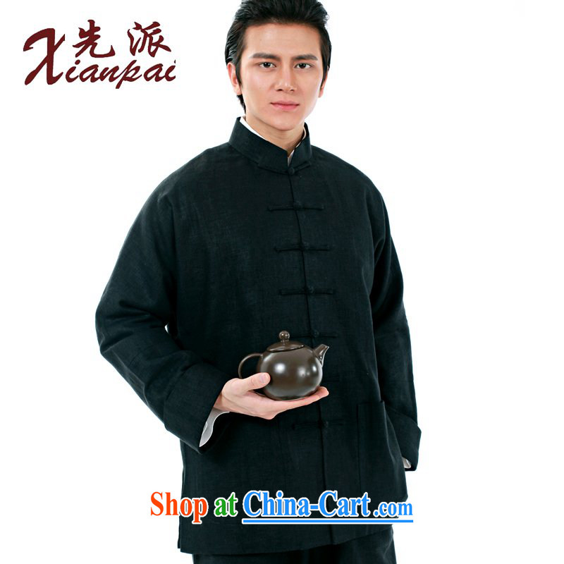 First Spring new Chinese men's linen jacket new Chinese China wind traditional retro-sleeved T-shirt Dad Father's Day Gift, older long-sleeved jacket black linen in this the jacket XXXXL