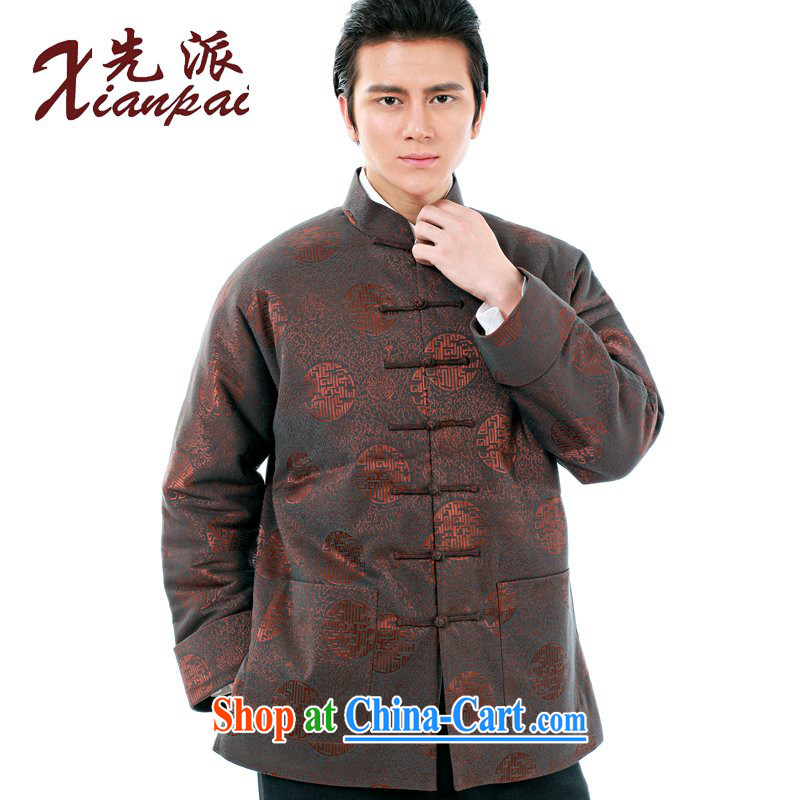 First winter traditional double-shoulder China wind Chinese men's long-sleeved thick quilted coat the older XL dress my father, for the charge-back lounge loose coat and coffee ring quilted coat 4 XL