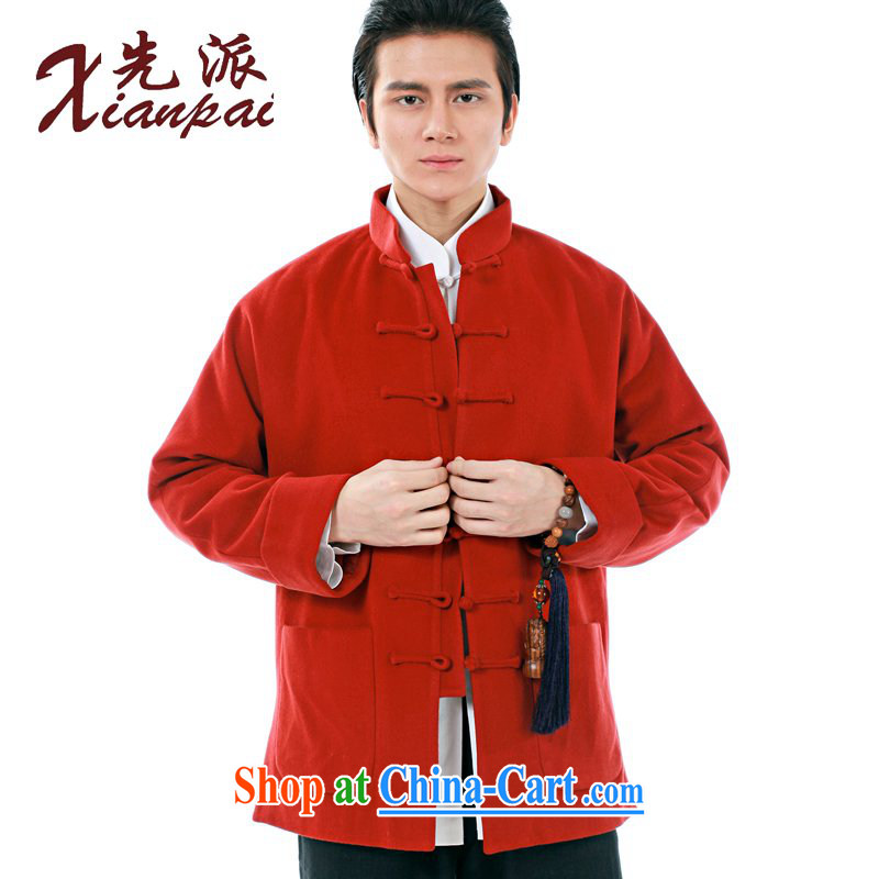 First Spring Chinese men's long-sleeved thick coat Cashmere wool cuff-style Chinese style high-end dress new Chinese father's jacket casual loose-tie and collar red cashmere overcoat 3 XL the 3 day shipping