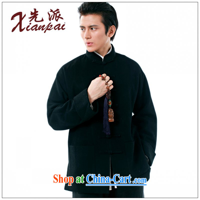 To send new men's Chinese T-shirt spring coat and stylish Chinese style long-sleeved, Father cashmere new Chinese wool thick T-shirt XL loose the tie and collar black cashmere overcoat XXL