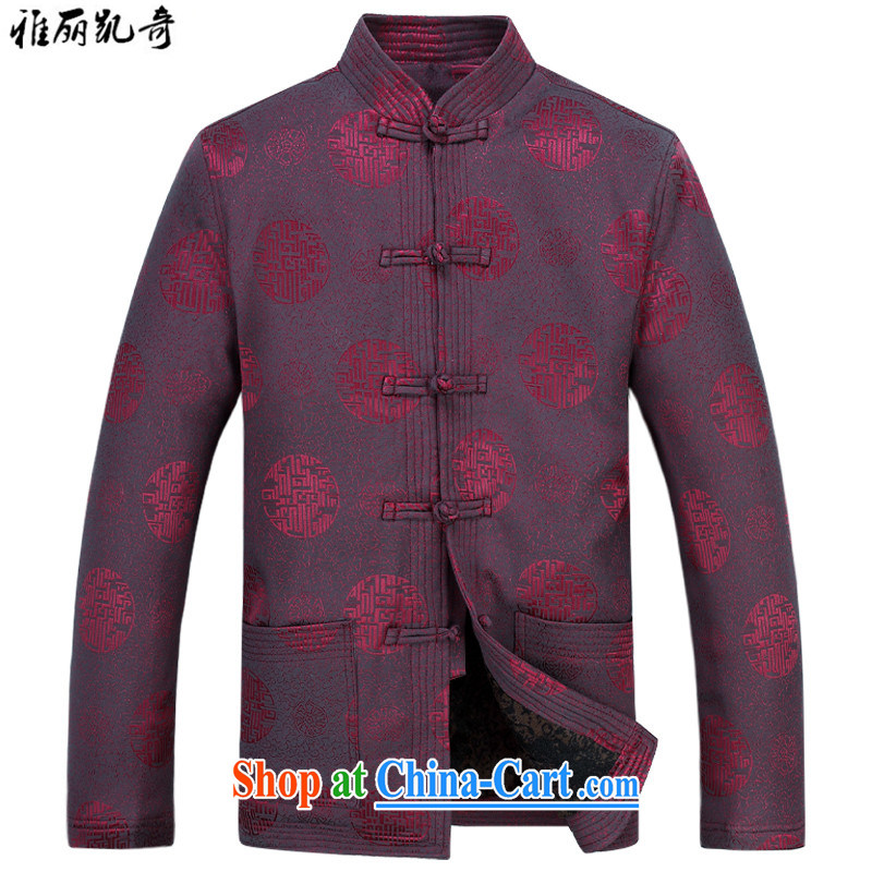 Alice, Kevin Tang fitted jacket men's middle-aged and older Chinese jacket Chinese, for the elderly, the snap spring jackets T-shirt Chinese style dress cotton suit red T-shirt and pants XXXL