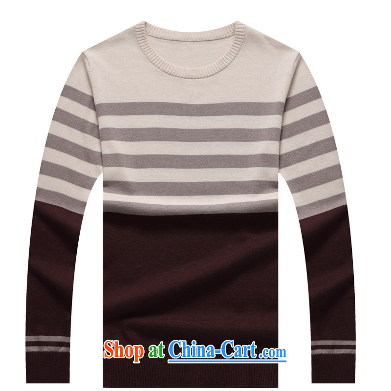 Global jeep 2015 New Men's pure cotton stitching knitted T-shirt casual stylish long-sleeved round neck woolen pullover male H 2064 wine red XXL