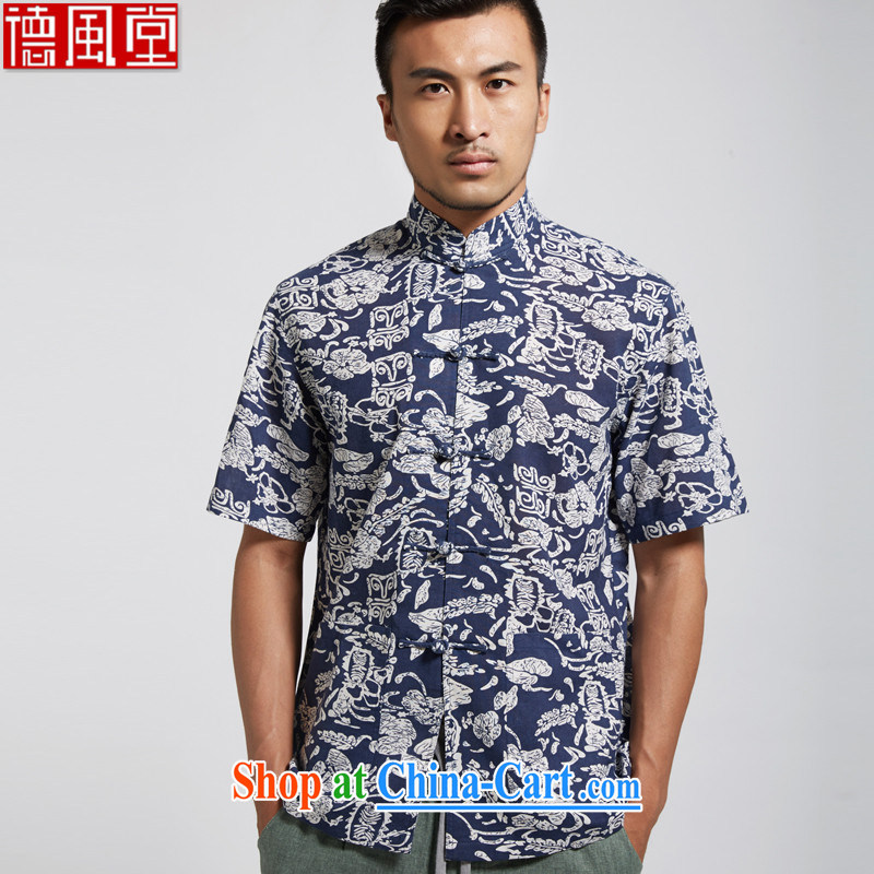 De-Tang Fei gradually summer 2015 new units the commission men Tang with a short-sleeved Chinese clothing multi-color optional燘luetooth 3 XL_190
