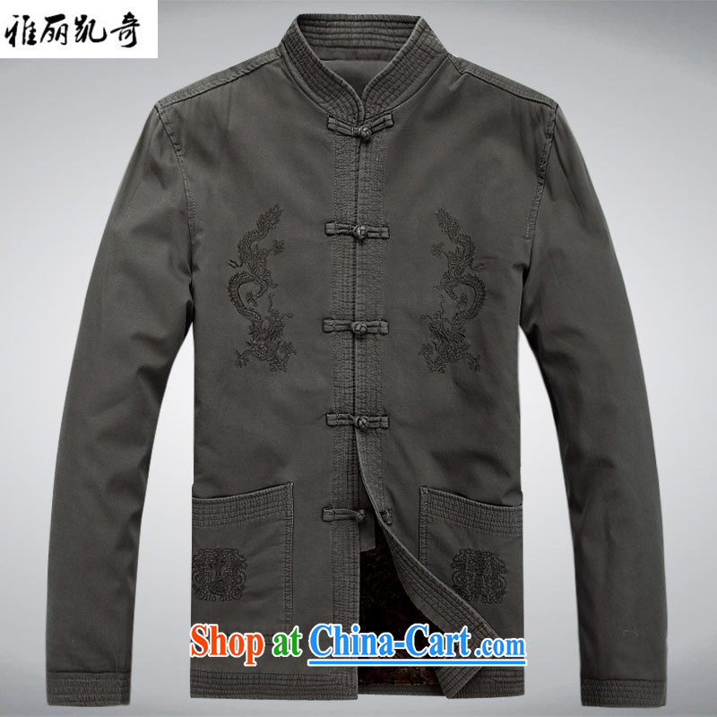 Alice, China wind Cotton Men Chinese men's long-sleeved jacket Chinese Winter winter clothing Han-gown and Nepal Service Improvement national retro cotton suit gray-green thick edition XXXL
