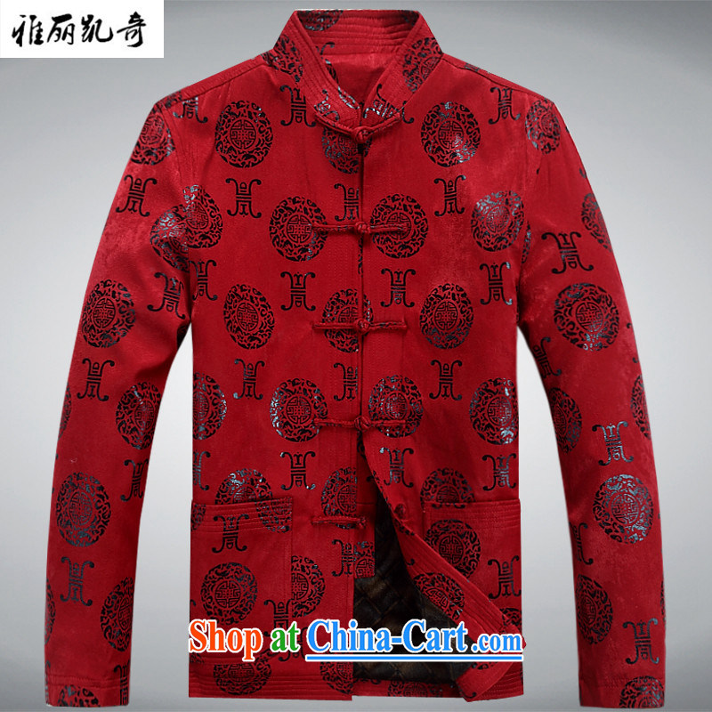 Alice Kay, older persons in winter jackets men's casual long-sleeved Chinese Chinese winter coat the code t-shirt improved birthday life dress red thick, L