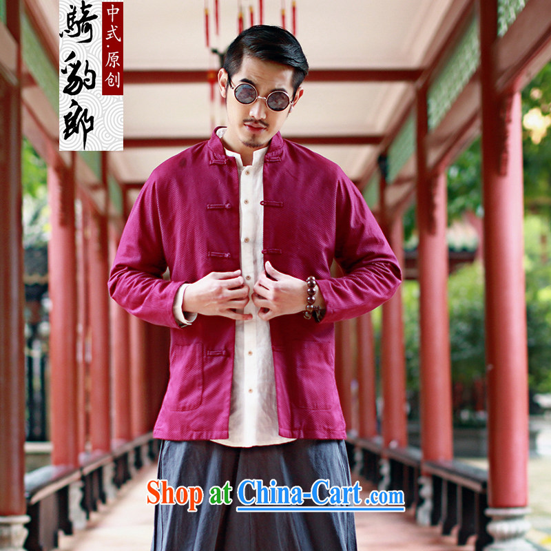 Riding a leopard jacket, men's the autumn wind load new Solid Color Chinese Chinese, for national-buckle cotton jacket improved, served by red XXXL