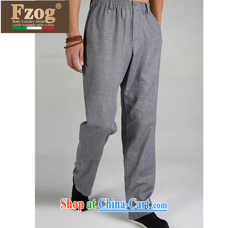 FZOG China wind antique Chinese long pants, comfortable men's counters are jogging pants from hot dark gray XXXL, FZOG, shopping on the Internet