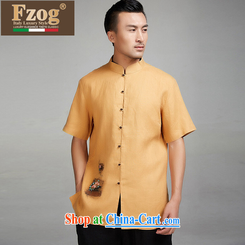 FZOG high-end linen summer short-sleeved T-shirt Chinese men China wind father dress and yellow XXXL