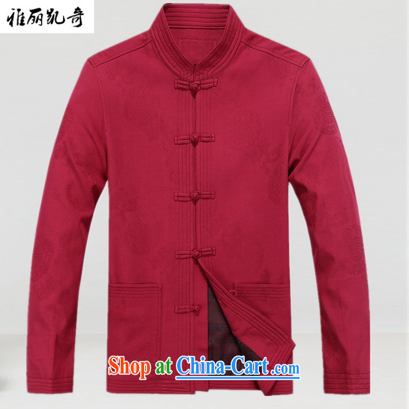 Alice, Al Qaeda men's jacket, winter, middle-aged men's jackets men's Tang with autumn and winter with older people fall and winter season, men's jackets and Stylish retro improved dress red T-shirt XL
