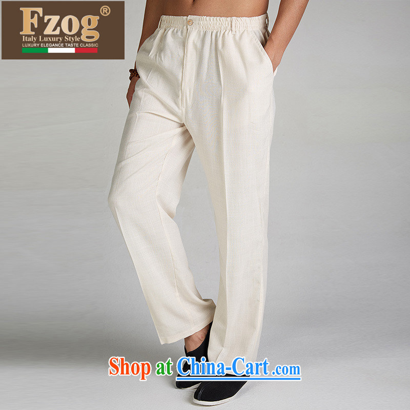 2015 FZOG new Genuine Chinese male, Elasticated waist trousers summer Tang is comfortable long pants m yellow XXXL