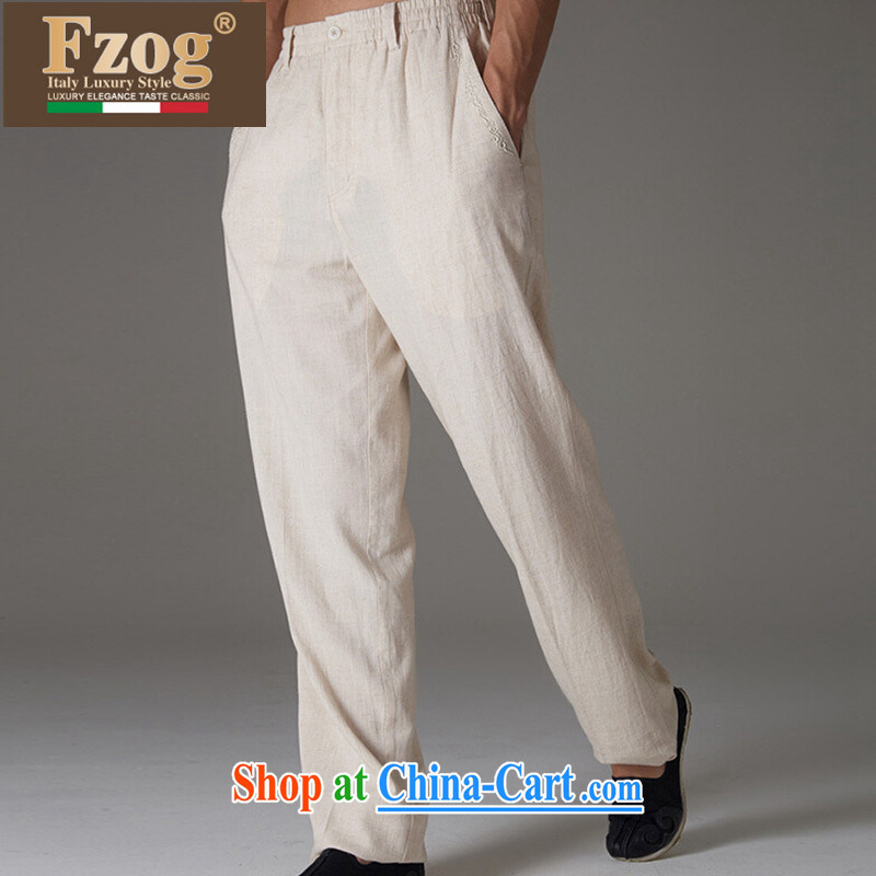 FZOG Tang replace summer men's genuine counters Leisure Long pants Solid Color from hot China wind father with cornhusk yellow XXXL