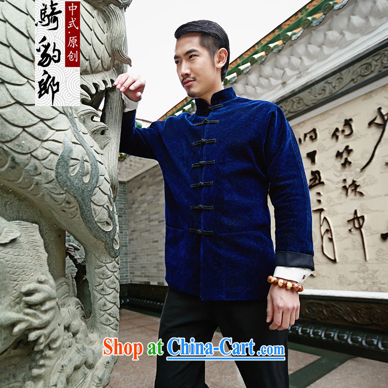 Riding a leopard jacket, men's China wind new Chinese T-shirt autumn new long-sleeved style is withholding improved Han-Peony blue XXXL