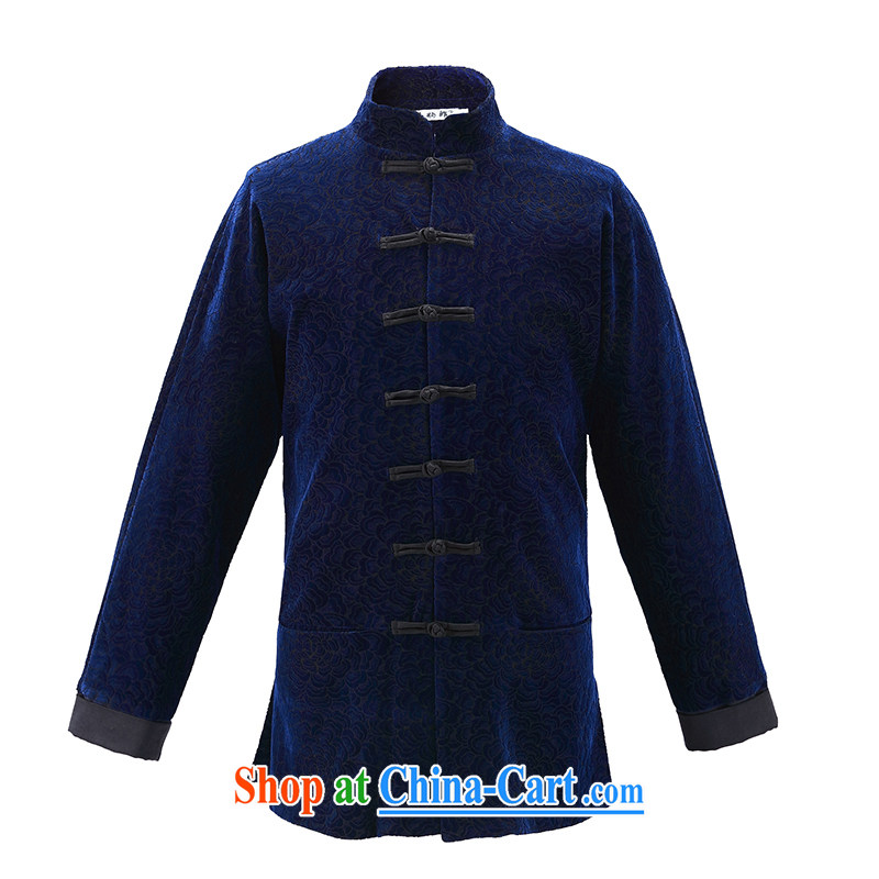 Riding a leopard jacket, men's China wind new Chinese T-shirt autumn new long-sleeved style is withholding improved Han-Peony blue XXXL, riding a leopard health (QIBAOLANG), online shopping