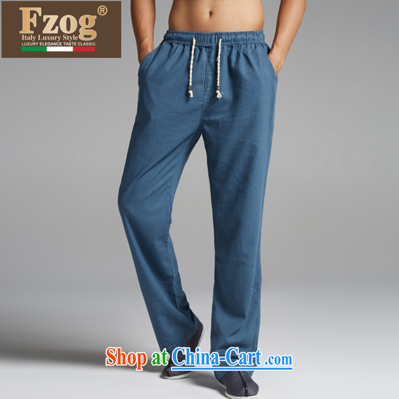 FZOG summer 2015 new retro Chinese men's thin comfortable Elasticated waist long pants China wind blue XXXL