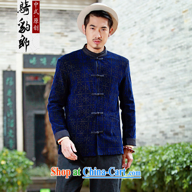 Riding a leopard who suits men's jackets Chinese style Chinese autumn new original Chinese improved stylish thin smock pane blue XXXL