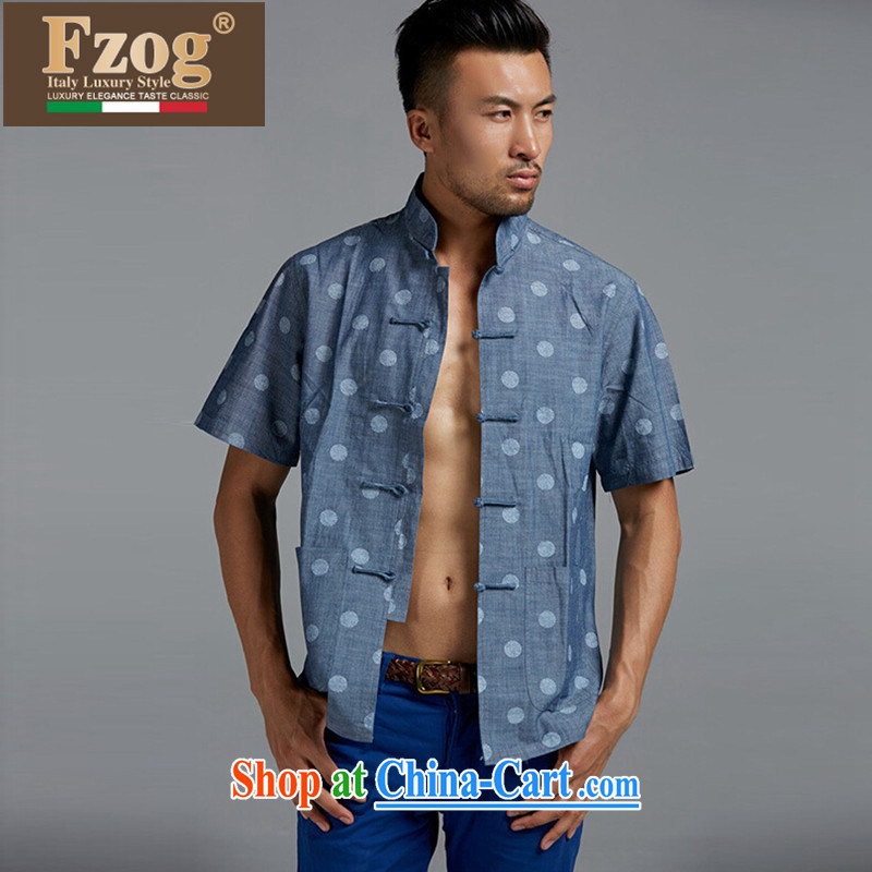 FZOG summer 2015 New Products Cotton Men's Chinese short-sleeved Chinese style Chinese-snap stamp T-shirt blue XXXL