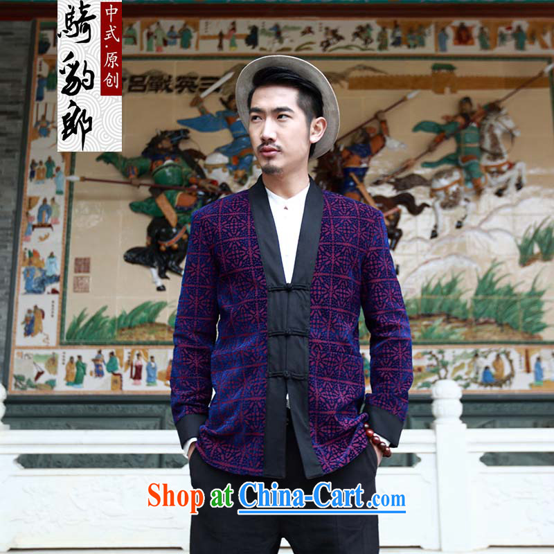 Riding a leopard who suits men's jackets China wind autumn new Chinese Chinese improved, served the charge-back knocked-colored T-shirt pane take XXXL