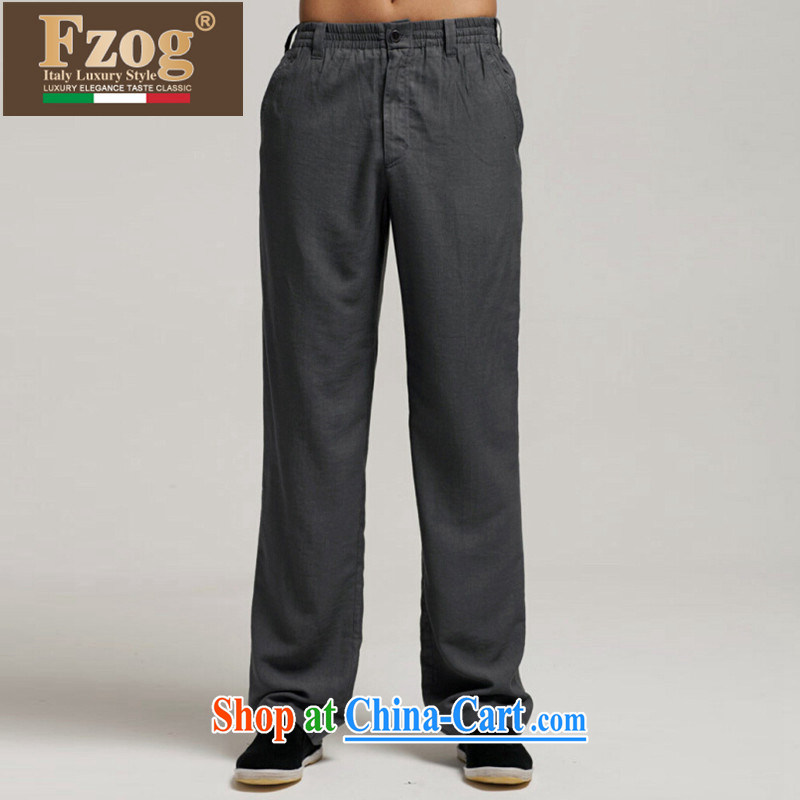 FZOG summer 2015 new leisure men's loose China wind gray long trousers Tang with breathable comfort gray XXXL