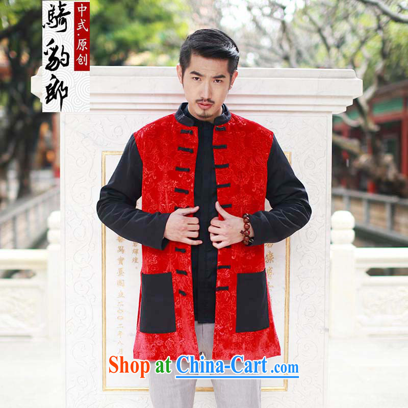Riding a leopard jacket, men's windbreaker autumn New China wind men long-sleeved knocked color-buckle Long Tang with improved Han-?chinese red XXXL