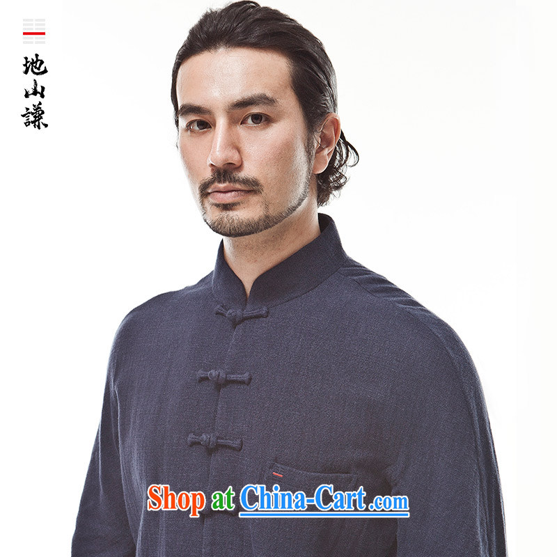 To him, the wind two-sided linen Chinese Chinese Zen men's Long-Sleeve the buckle clothing autumn new dark blue (XXL)