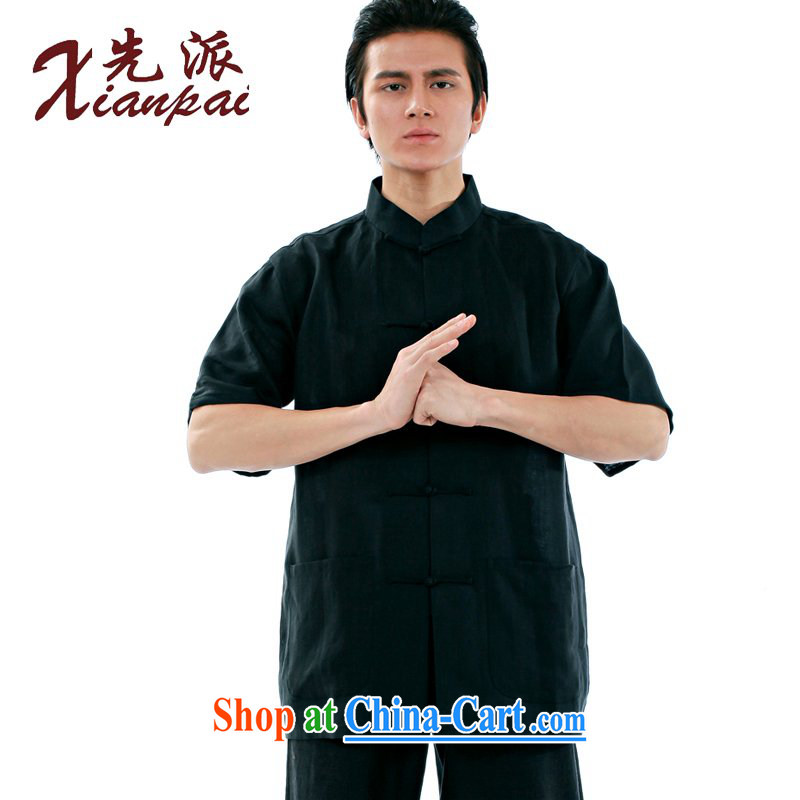 To send new summer Chinese men's black linen short-sleeve T-shirt new Chinese classical literature and art, and for the charge-back China wind youth dress black linen short-sleeve T-shirt XXXL