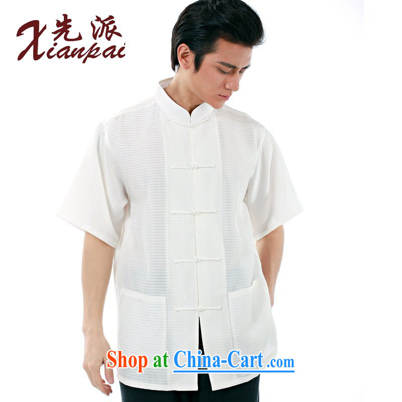 To send new summer Chinese men Hang Luo silk short-sleeved T-shirt new Chinese classical literature and art, and for the charge-back China wind father sauna silk dress white Hang Luo silk short-sleeved T-shirt XXL