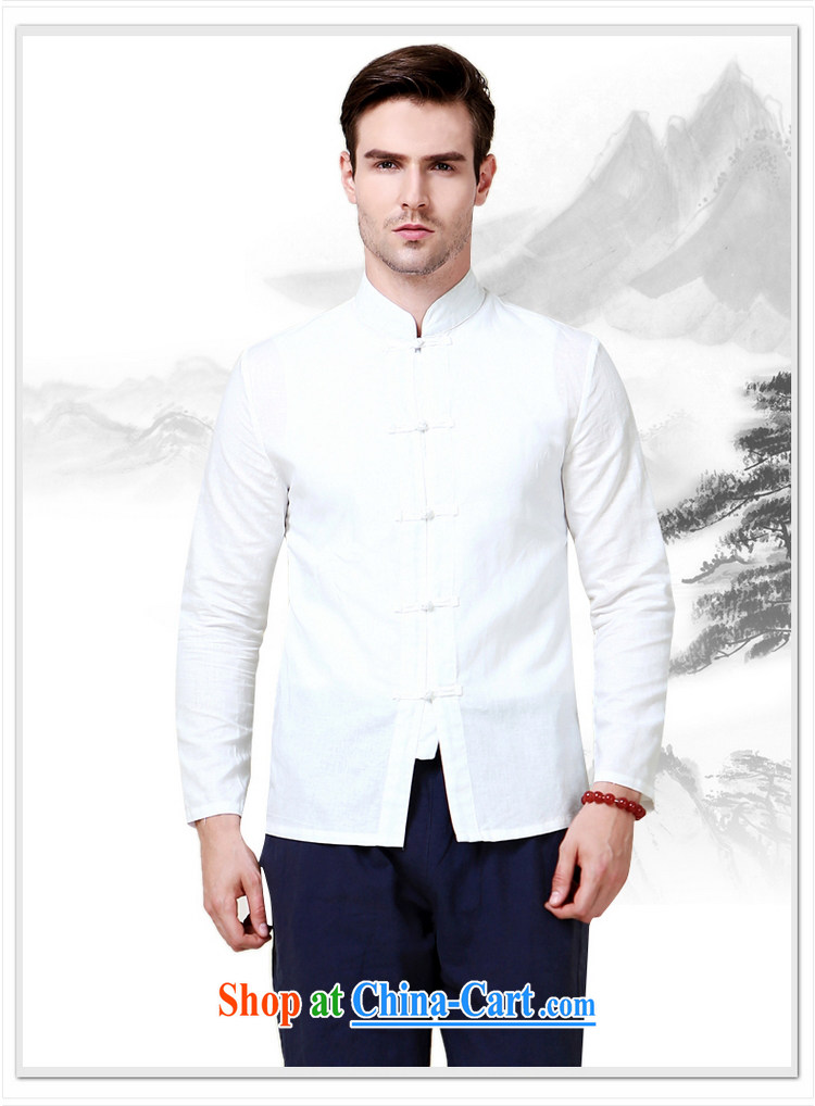 cool ocean 2015 new cotton Ma Man Tang with long-sleeved shirt China wind up collar shirt 100a Chinese solid shirt white 41/175 pictures, price, brand platters! Elections are good character, the national distribution, so why buy now enjoy more preferential! Health