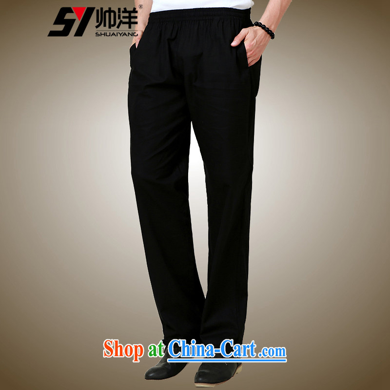 cool ocean fall 2015 with new men's short pants Chinese style Chinese pants black 185_XXL