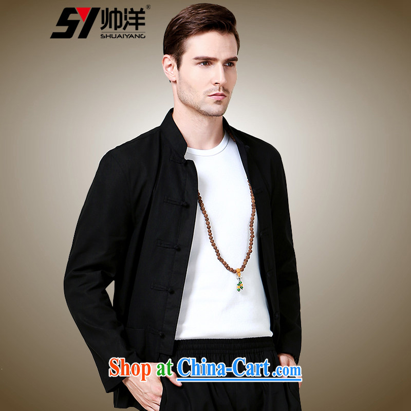 cool ocean fall 2015 new beauty, men's Chinese long-sleeved shirt China wind in national costumes of Chinese jacket black 185/XXL