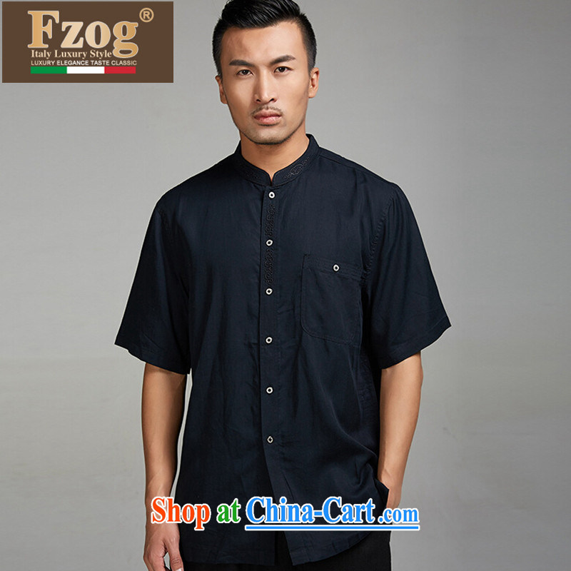 FZOG summer 2015 new short-sleeved T-shirt China wind men's classic embroidery, for retro Tang black XXXXL