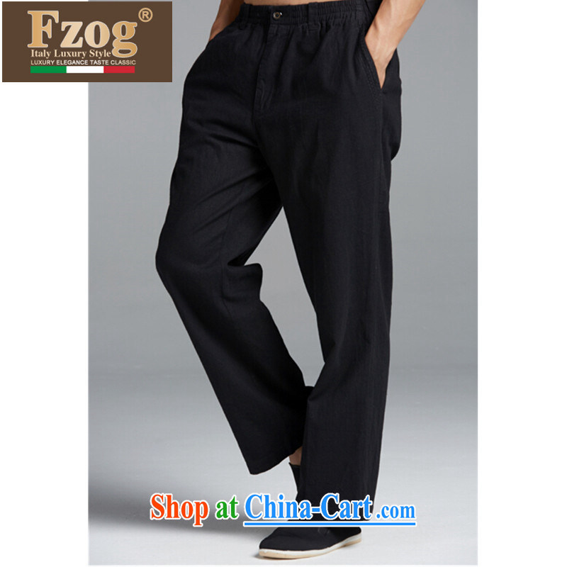 FZOG summer 2015 new leisure men long pants are from China, middle-aged and older, comfortable Tang black XXXL